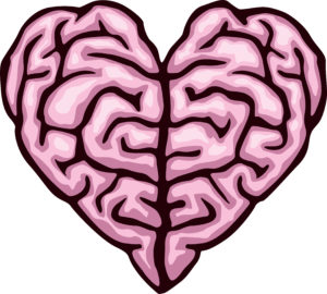 Drawing of brain in the shape of a heart