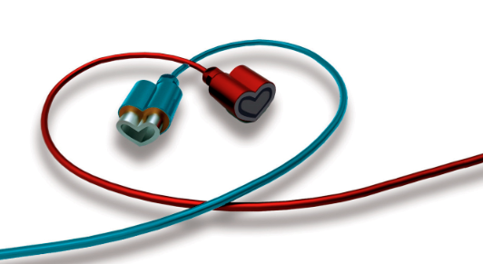 Two wires intertwined in the shape of a heart, with heart-shaped plugs