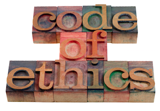 """Blocks of letters spelling """"Code of Ethics"""" - shared by Marsha Lucas, PhD - Psychologist"""