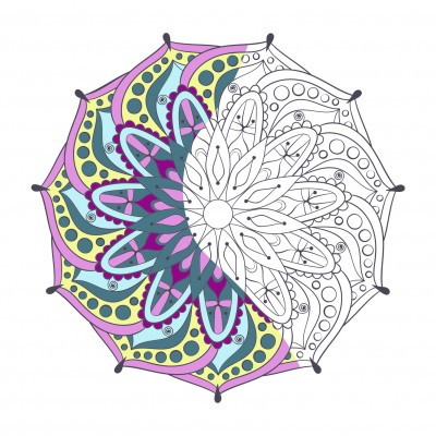 Partially colored-in mandala