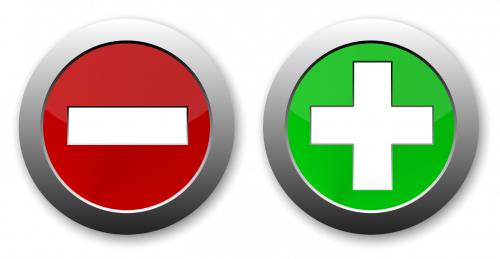 Button-style symbols representing positive and negative