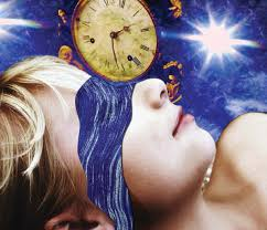 Image of woman sleeping with a clock and a star in a deep blue sky around her