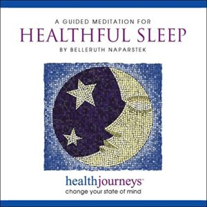 "Cover art for Belleruth Napartstek's audio, ""A Guided Mediation for Healthful Sleep"", showing a mosaic of a peacefully sleeping crescent moon"