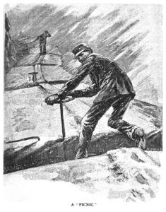 A train brakeman riding the top of a railroad train in bad weather.