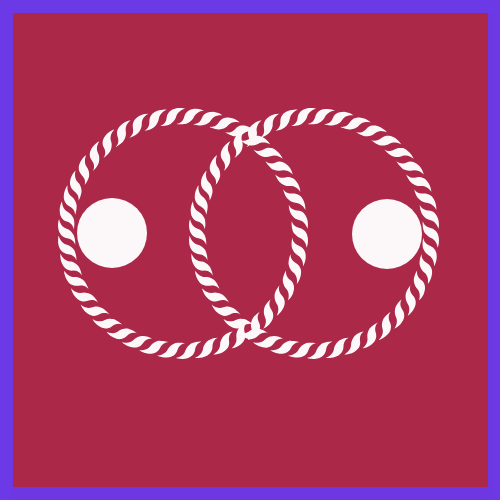 Two overlapping circles, representing two people in a relationship